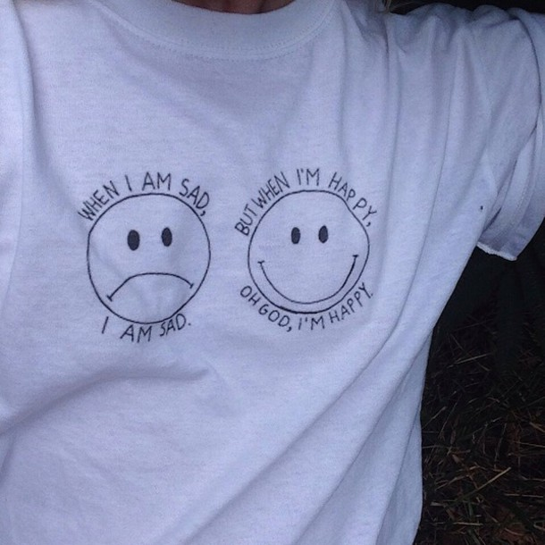 shirt sad happy t-shirt