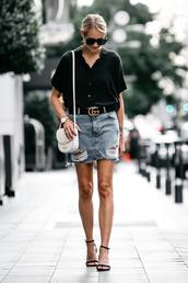 fashionjackson,blogger,shirt,skirt,shoes,bag,jewels,sunglasses,denim skirt,black shirt,shoulder bag,white bag,sandals,high heel sandals