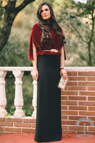 maxi skirt crimenes de la moda blogger red Belt jumper clutch