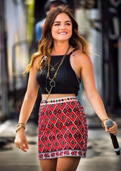 skirt,lucy hale,aria montgomery,pretty little liars,top,jewels,festival,hipster,hippie
