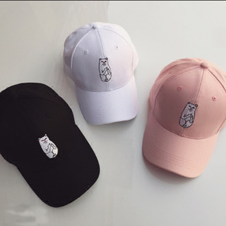 hat cap pink white black cats trendy teenagers cool summer spring beautifulhalo
