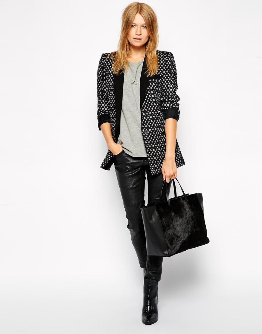 ASOS Leather and Ponyskin Handheld Bag at asos.com