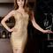 Plunge v neck woodgrain foil print bandage dress gold