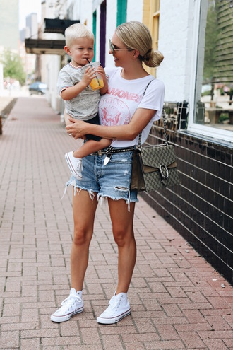 somewherelately blogger top shorts belt shoes bag sunglasses high top converse high top sneakers denim shorts t-shirt