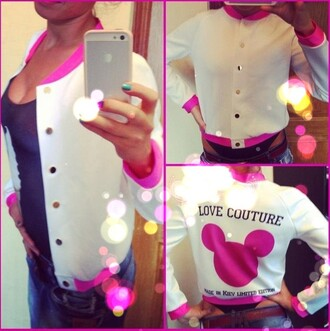 white buttons pink short coat collar long sleeves letters printing love couture long dress baseball jacket collar shirt cut-out bikini