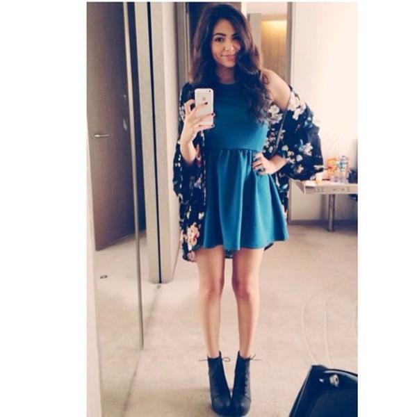 bethany mota blue dress dress glamour style cardigan