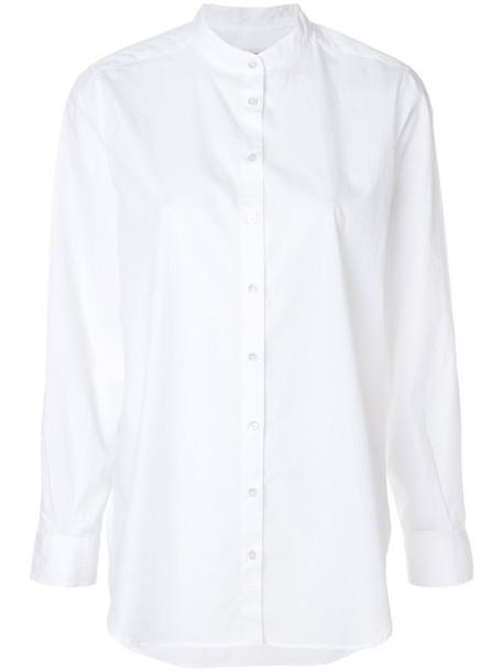 Closed shirt collar shirt women white cotton top