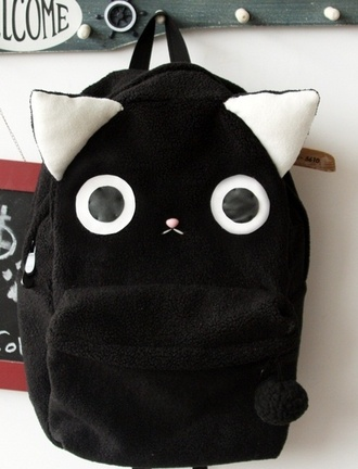 bag black backpack rucksack cats bookbag kawaii cute japanese streetstyle cutie chic dope black kitten backpack fluffy