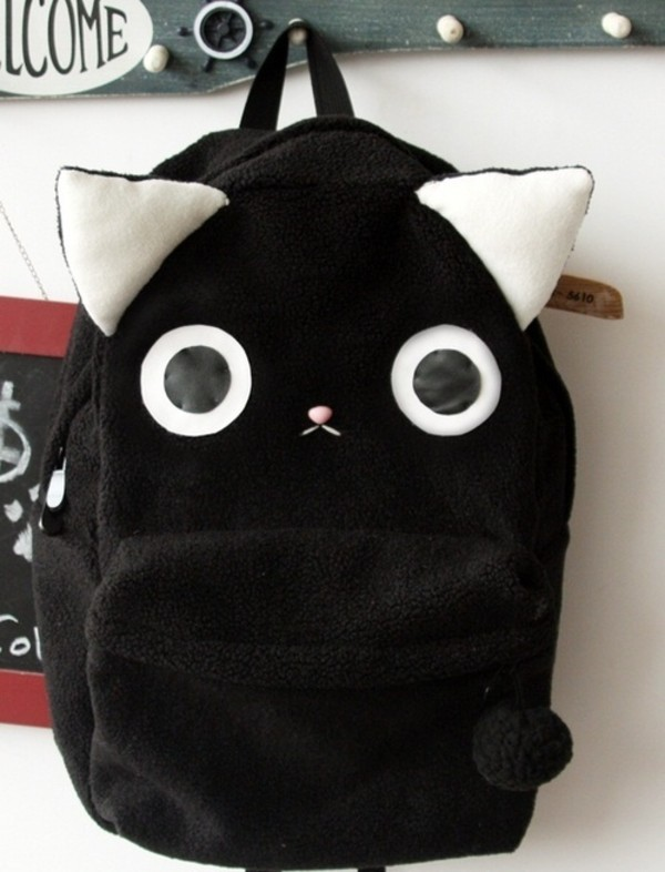 Bag: black, backpack, rucksack, cats, bookbag, kawaii, cute ...