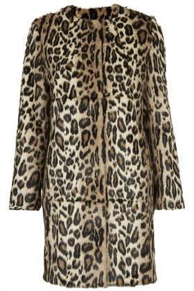 **faux fur  animal print coat