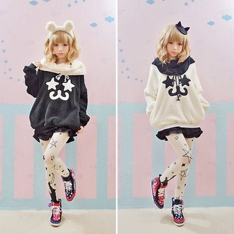 sweater sweet korean fashion japanese girly cats stars warm fluffy nice dress clothes top jacket chic fashion kawaii pastel pastel goth lovely cute tights