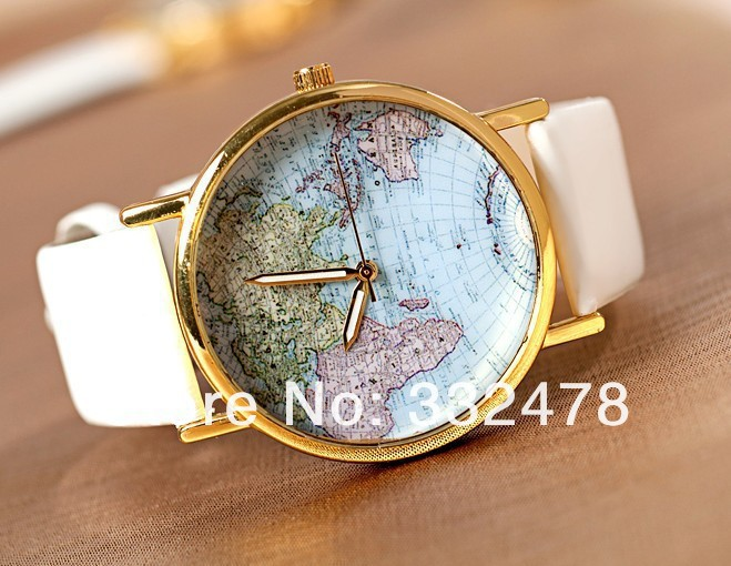 2013 new styles, leather watches with map watch dial,Sales promotion Unisex watches wrist watch(free shipping)-in Wristwatches from Watches on Aliexpress.com