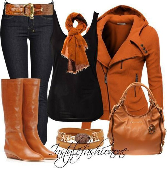 scarf jeans boots purse n boots Belt