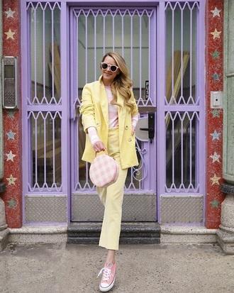 jacket zara blazer yellow yellow blazer yellow pants cropped pants top striped top pants sneakers pink sneakers converse low top sneakers