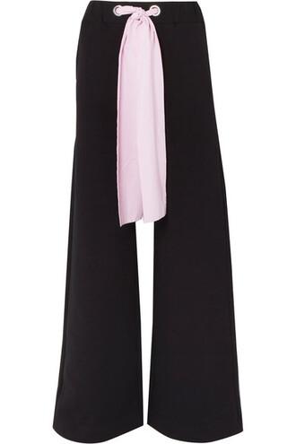 pants wide-leg pants cotton black