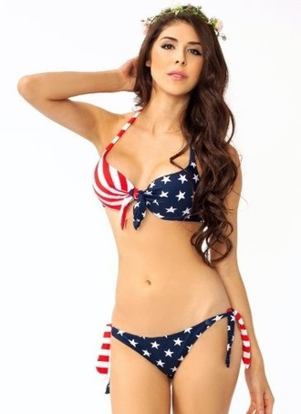 swimwear push up bikini usa american flag stars and stripes
