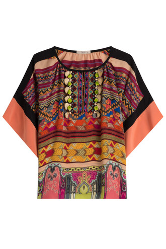 blouse fringes silk multicolor top
