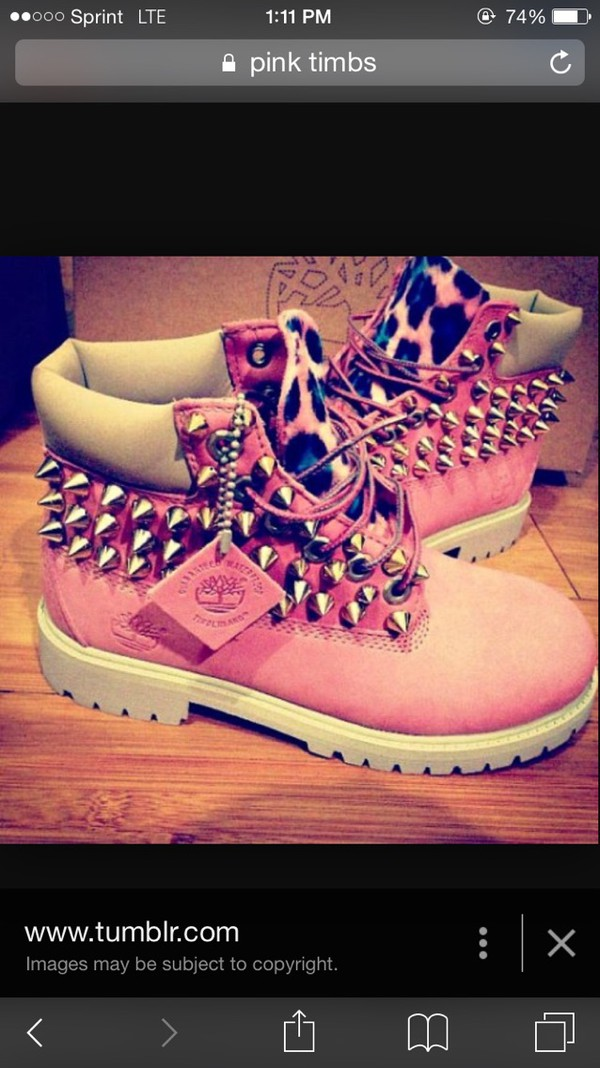 Shoes: pink timberlands
