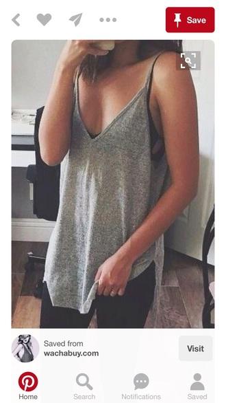 tank top grey black grey tank top spaghetti strap loose fit knit
