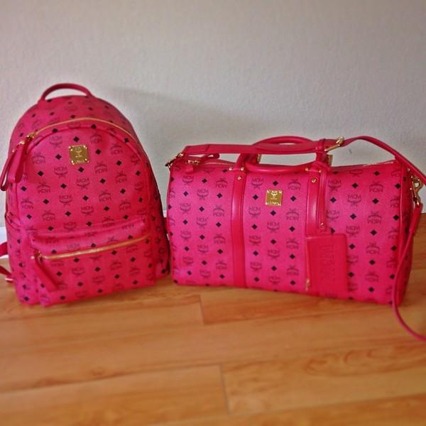 bag mcm swag dope designer pink mcm bag pink bag