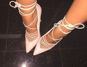 shoes baby pink heels lace up high heels leather leatherheels laceup heels lace up heels