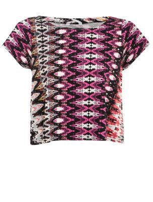 Pink blurred aztec swing crop t