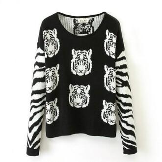 sweater tiger brenda-shop brendashop jumper pullover crop tops cropped sweater black cute