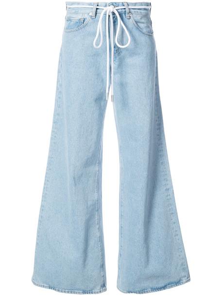 Off-White - High rise wide leg jeans - women - Cotton - 26, Blue, Cotton
