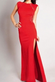 Red Maxi Dress with Lace Back and Fishtail - OASAP.com