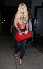 top,bodysuit,jeans,sandals,iggy azalea,lace up