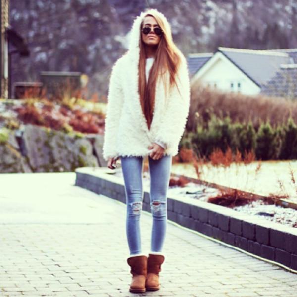 coat fuzzy coat white jeans