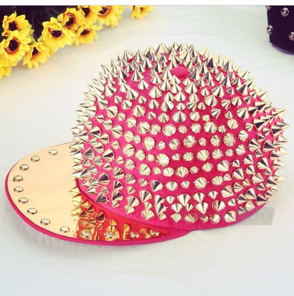 spiked hat headwear snapback fashion fushia pink pink cap