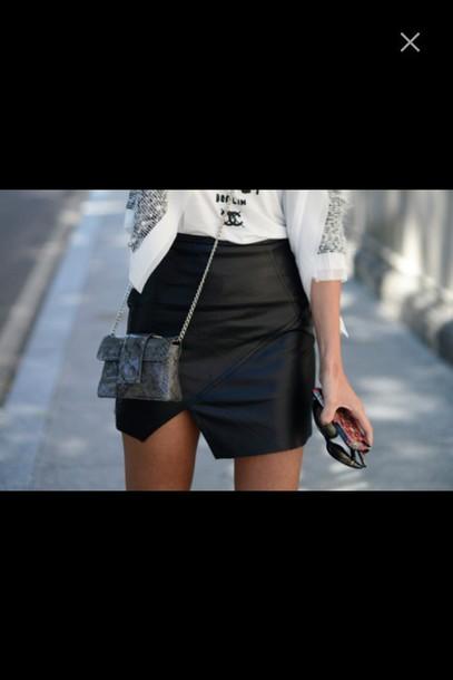 skirt bag purse t-shirt white white t-shirt blazer jacket leather leather skirt mini skirt short skirt cut out skirt paris tight skirt bodycon skirt