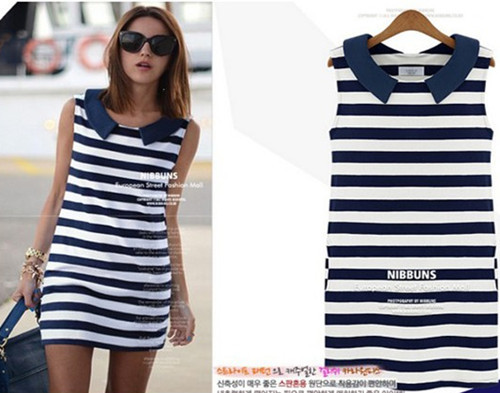 2014 Clothing Women Fashion Denim Sailor Collar Sleeveless Casual Striped Jeans Dress Ladies Blouses Tops summer casual dress   Amazing Shoes UK