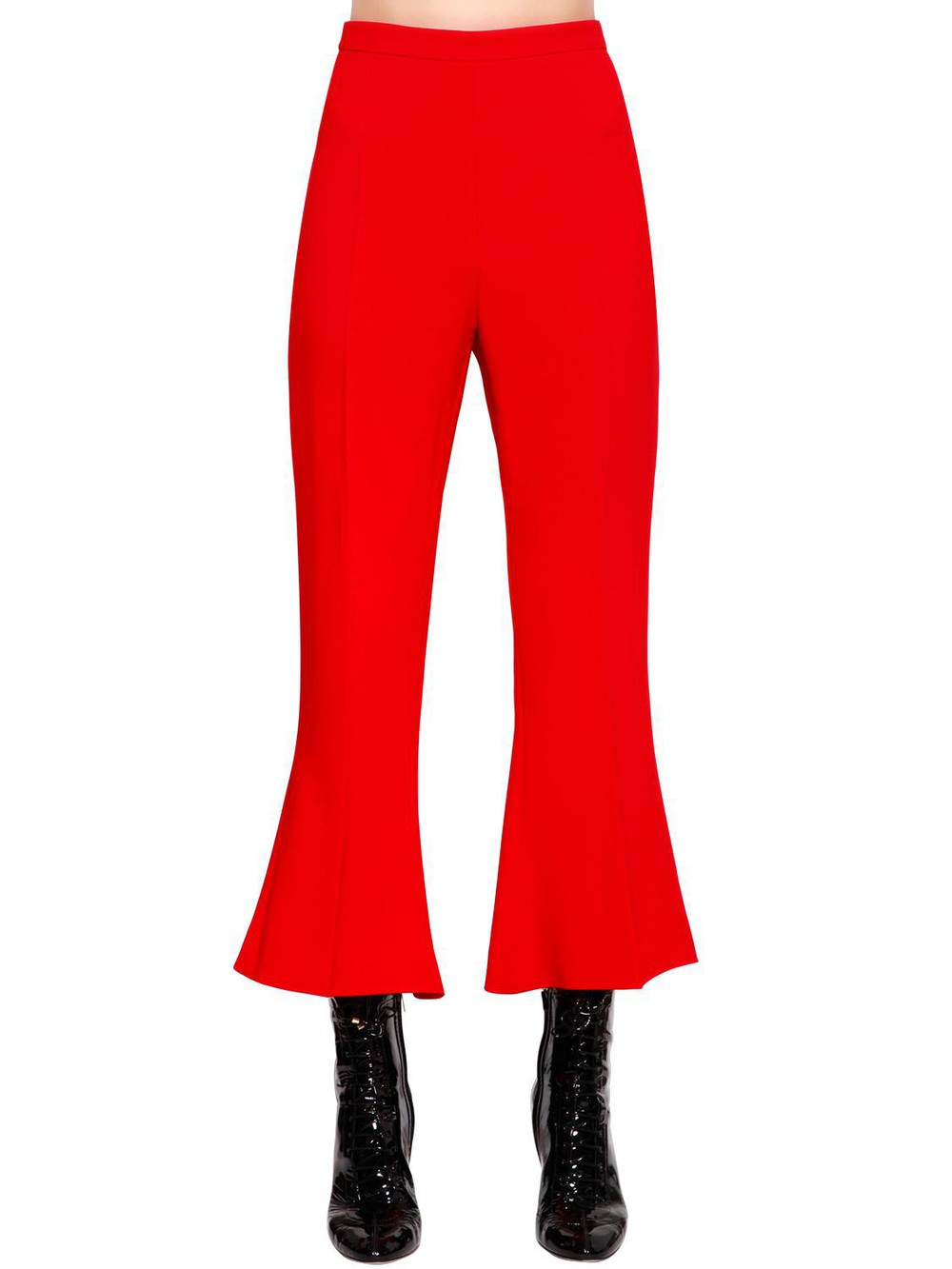 ANTONIO BERARDI Flared & Cropped Cady Pants in red