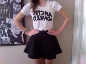 t-shirt arctic monkeys band t-shirt urban punk rock cool streetwear chic black white black and white w&b skirt black skirt rock band alternative rock shirt top b&w merchandise band skater grunge