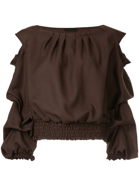 Aula top women wool brown