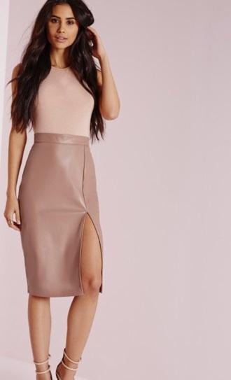 skirt nude midi skirt leather slit skirt