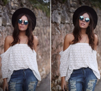 blouse lace top white top white lace top off the shoulder off the shoulder top white crochet crochet top holiday outfit summer top hippie gypsy gypsy-style top tube top white boho festival coachella sunglasses hat peasant top