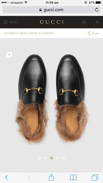 shoes gucci fur slippers