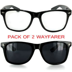 Pack of 2 Retro Black Wayfarer Dark Lens Sunglasses Clear Lens Nerd Glasses | eBay