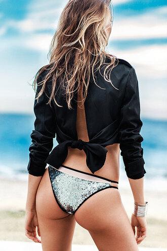 swimwear bikini bottoms sequins metallic silver behati prinsloo bikini beach blouse summer vogue editorial metallic swimsuit metallic bikini