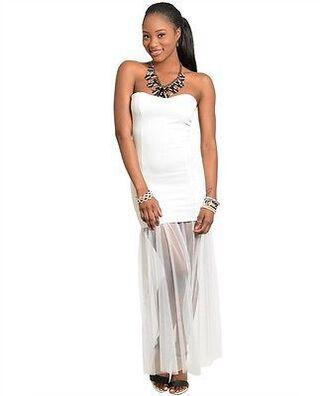 dress white dress strapless