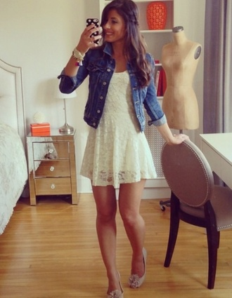 dress white dress lace dress jacket