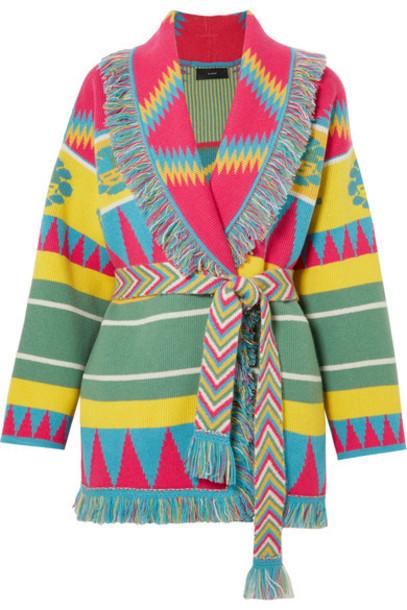 Alanui cardigan cardigan jacquard knit pink sweater