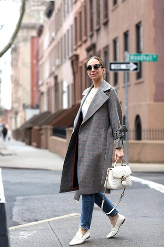 coat grey coat plaid coat plaid top white top shoes loafers blue jeans jeans denim