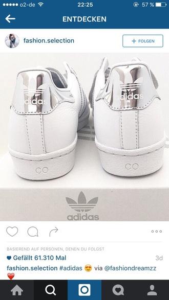 shoes adidas adidas shoes white silver sportswear fashion toast cool girly tumbr shoes
