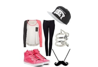 moustache jewels grey blouse white pink summer outfits girly swag obey