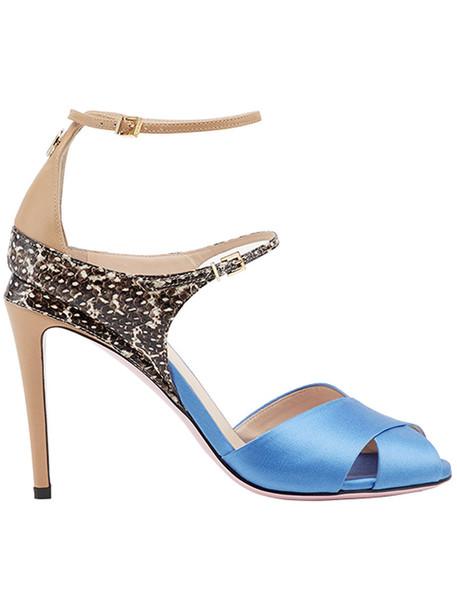Fendi women sandals leather blue silk shoes