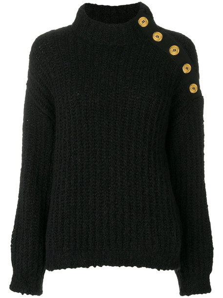 Boutique Moschino - knit button shoulder jumper - women - Acrylic/Polyamide/Wool/Alpaca - 42, Black, Acrylic/Polyamide/Wool/Alpaca